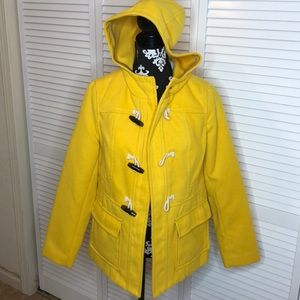 Old Navy Canary Yellow Toggle Pea Coat Medium